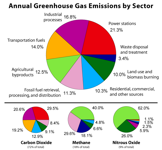 Human causes of global warming: emissions by sector